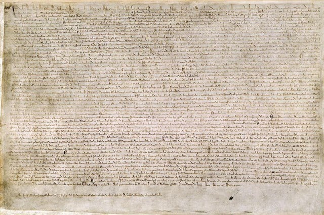 The Magna Carta, now in the British Library.