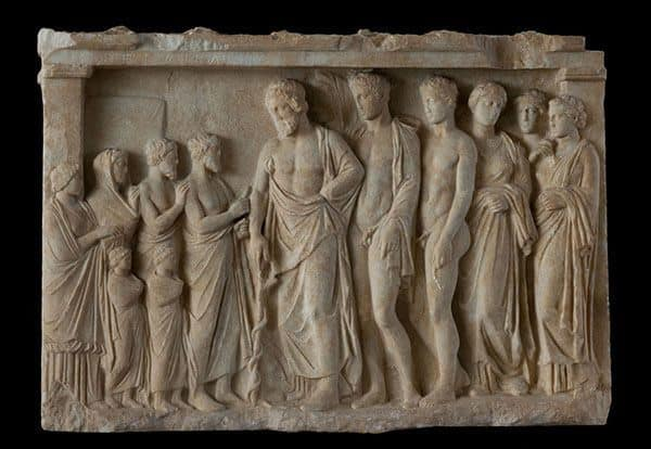A votive marble relief, c. 375-350 BC. © National Archaeological Museum, Athens