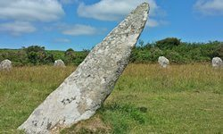 The central megalith at the Boscowan-Un Stone Circle in Cornwall.