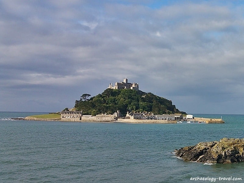 Saint Michael's Mount, in Cornwall, at high tide.