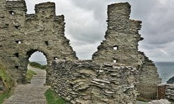 Part of the Medieval ruins at Tintagel's Castle, Cornwall.