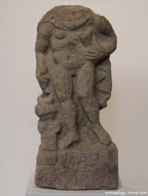 A statue of Arecurius, a native Briton god of the underworld, Housesteads Roman Fort.