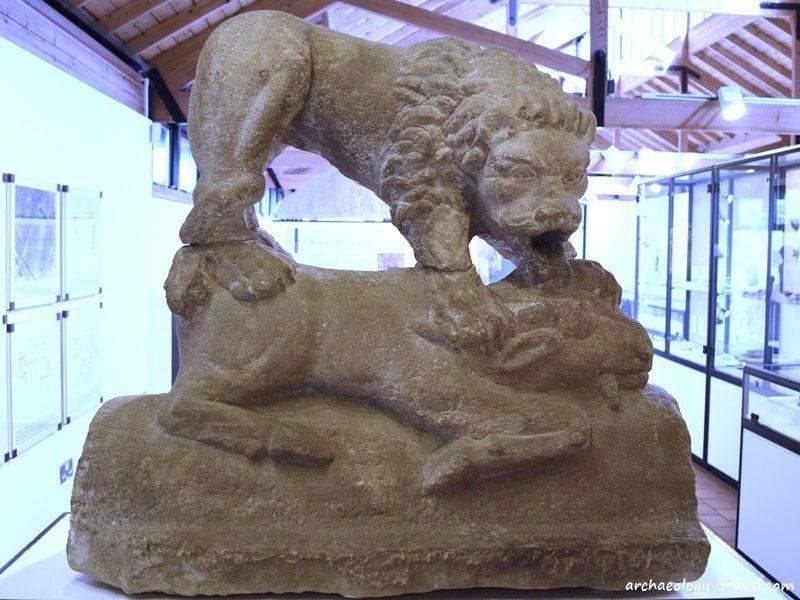 One of five sculptures of lion from Corbridge.