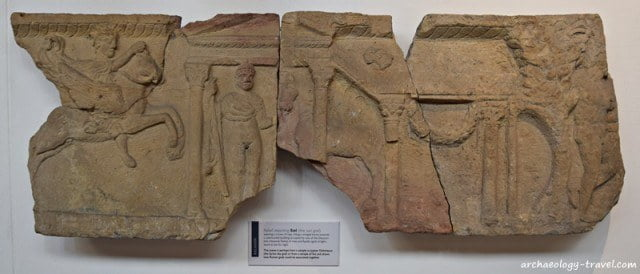A relief depicting the sun god Sol from Corbridge Roman town.