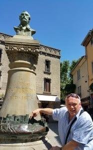 Thomas Dowson at the Memorial to Jean-Pierre Cros-Mayrevieille, Carcassonne.