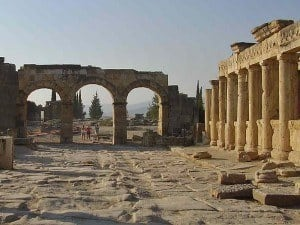 A paved street in Hierapolis, Turkey.