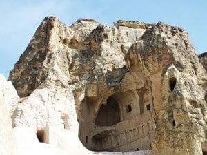 The 'Dark Church', one of many rock-cut churches in Göreme Open Air Museum, Cappadocia.