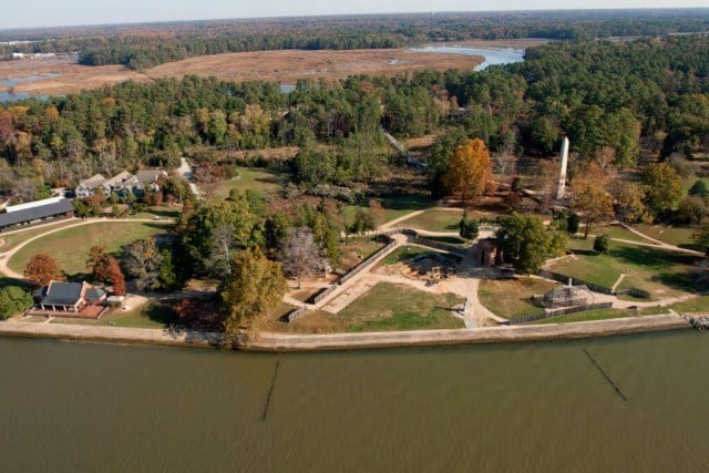 An aerial photograph over Historic Jamestown Island in Virginia. © Jamestown Rediscovery Foundation