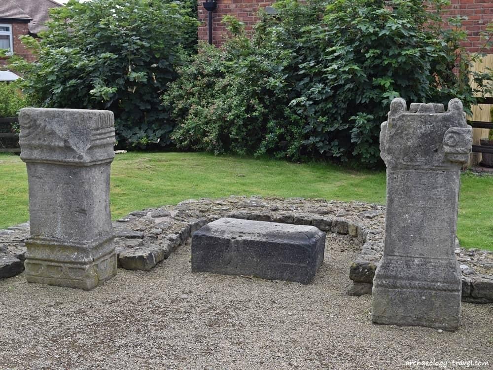 Replica altars in situ at the reconstructed Temple of Antenociticus.