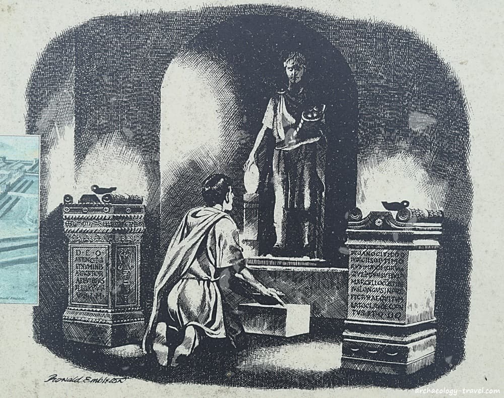 Artists impression of the interior of the Temple of Antenociticus at Benwell.
