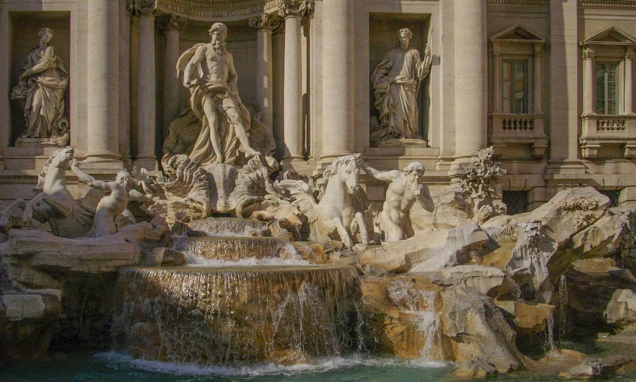 The sculptures of Oceanus and his horses for the backdrop of the Trevi Fountain in Rome.