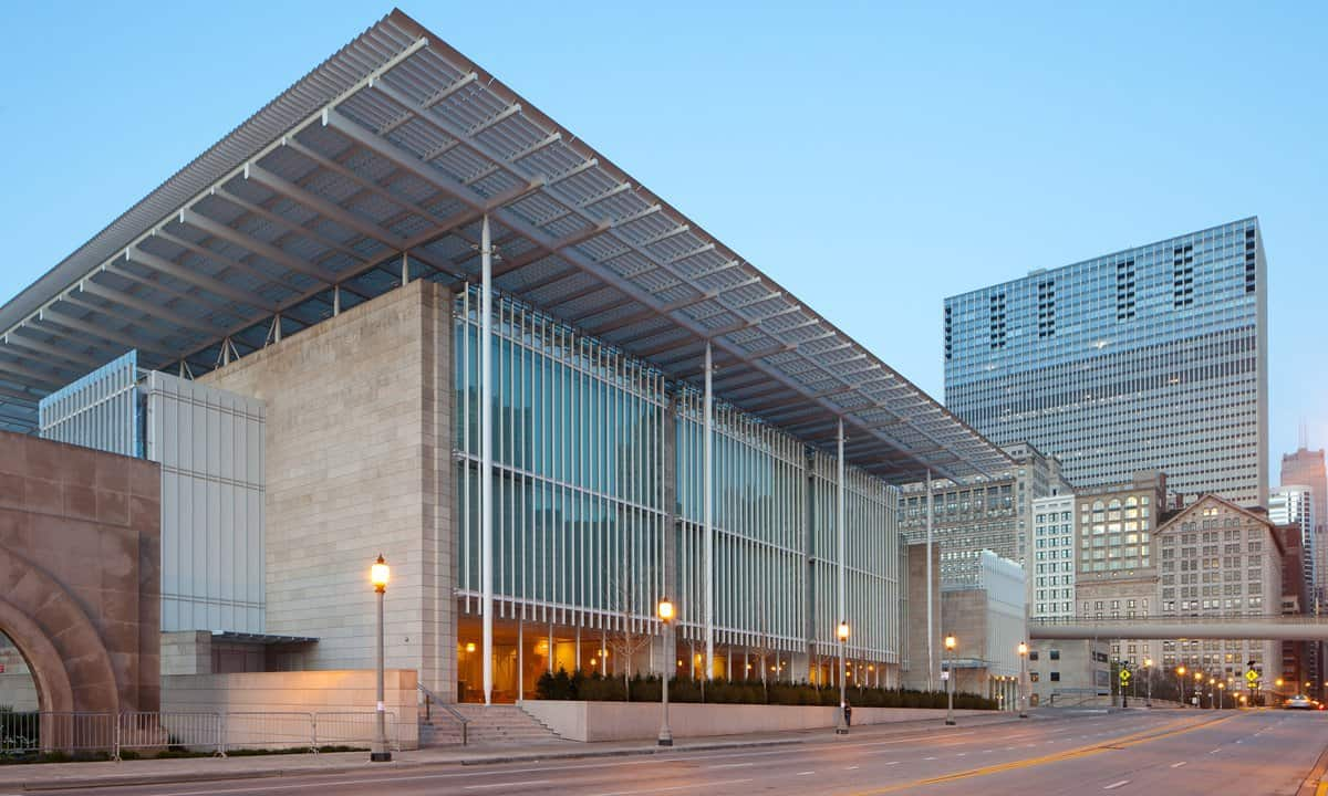 The modern wing of the Art Institute of Chicago at dawn.
