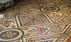 One of the mosaic floors preserved in North Leigh Roman Villa.