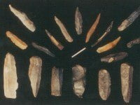 Upper Palaeolithic stone and bone artefacts from France, in the Museum of Primitive Art and Culture, Rhode Island.
