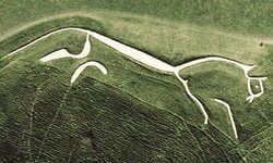 An aerial view of the Uffington White Horse chalk figure.