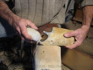 Stone tools being made in the Palaios Workshop, Les Eyzies.