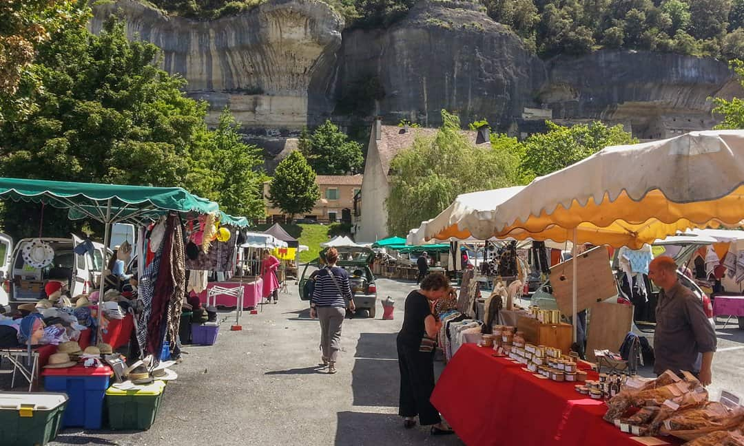 The Monday market in Les Eyzies, France.