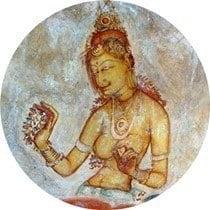 Wall paintings at Sigiriya, Sri Lanka.
