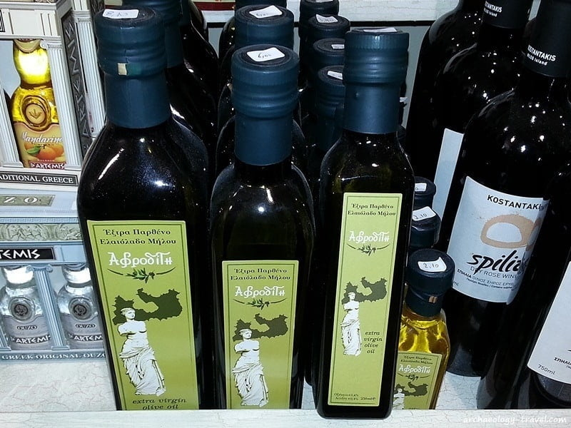 Olive oil using the Venus de Milo on its label.