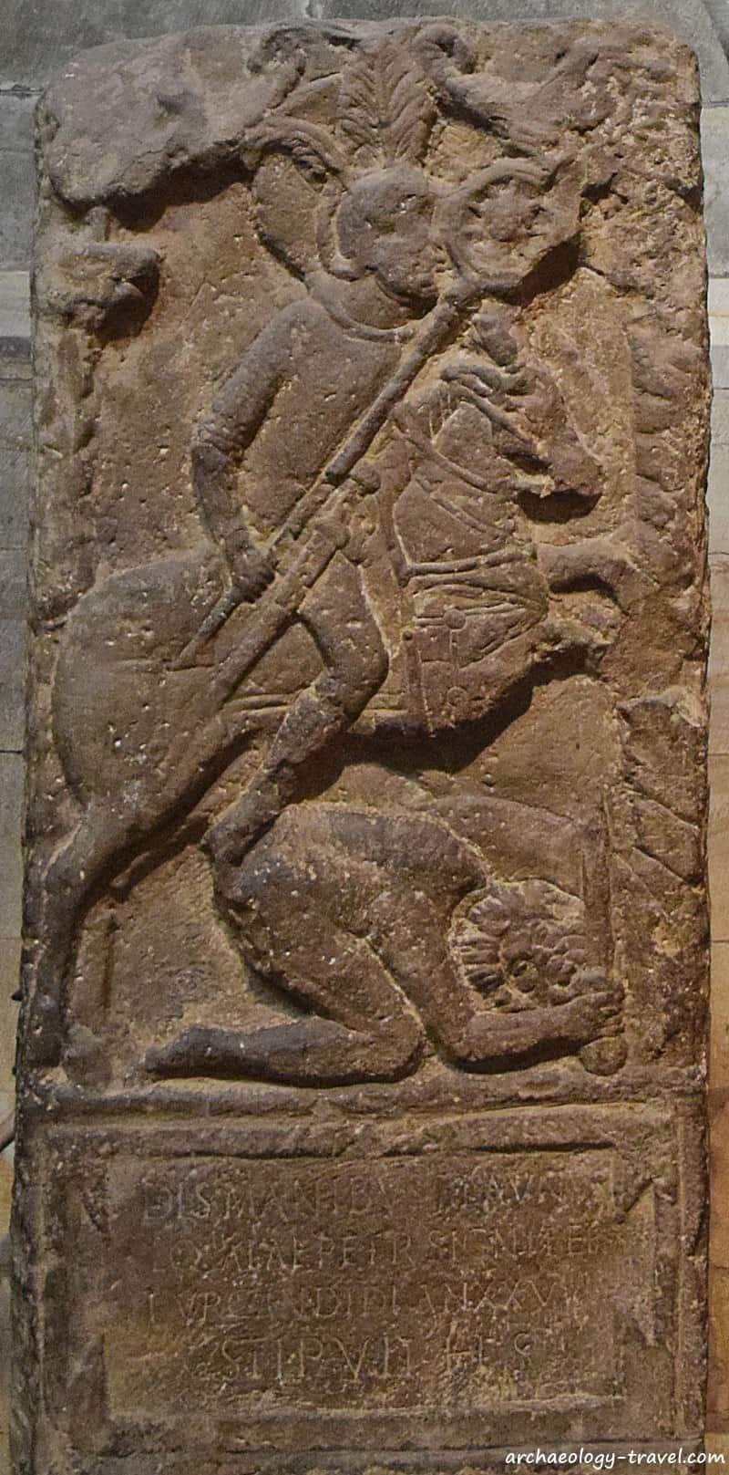 The Flavinus tombstone in Hexham Abbey.