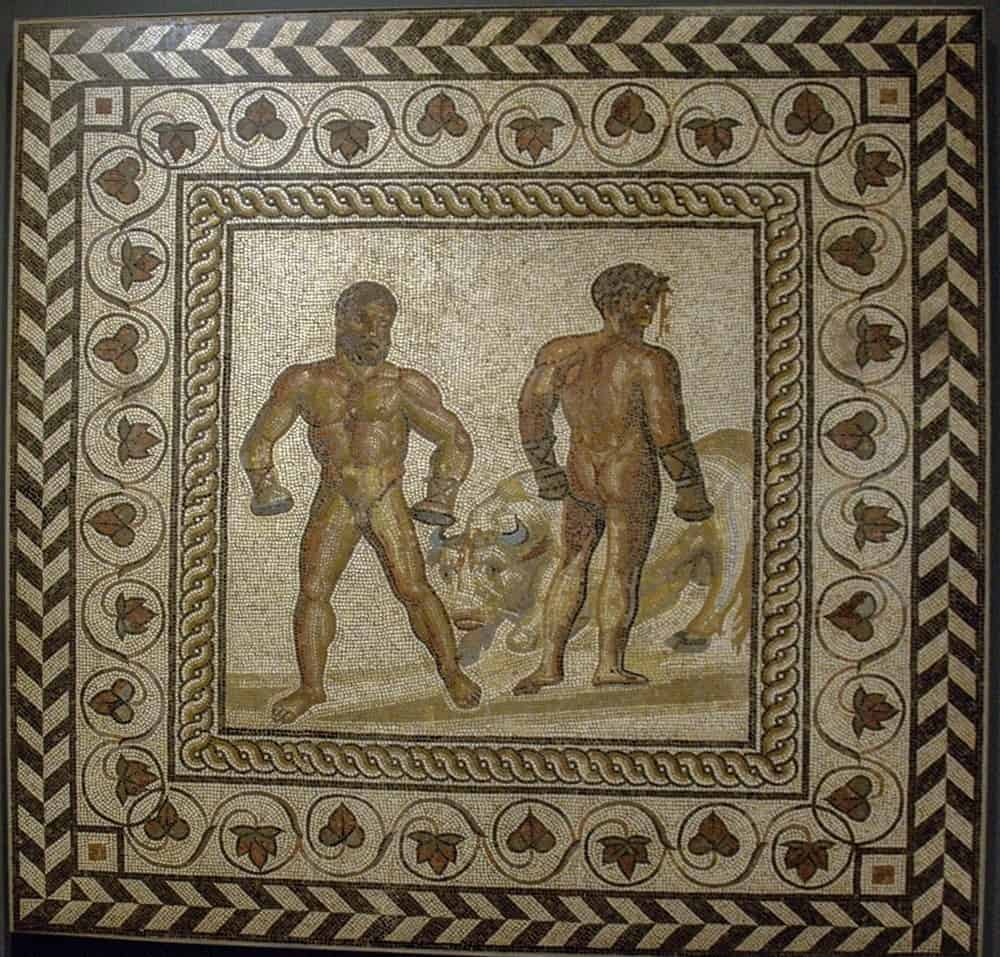 Gallo-Roman boxers mosaic, now in the J Paul Getty Museum.