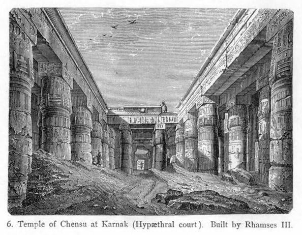 A 19th century engraving of the inside of the Temple of Khonsu.