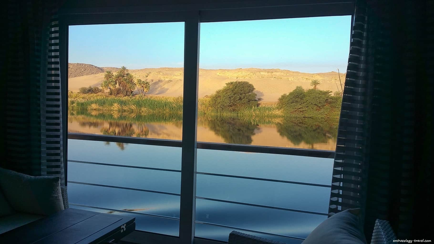 A dawn view from my suite on the Oberoi Philae luxury Nile cruise ship.