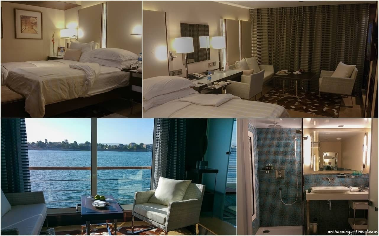 A twin cabin on board the Oberoi Philae luxury Nile cruise ship.