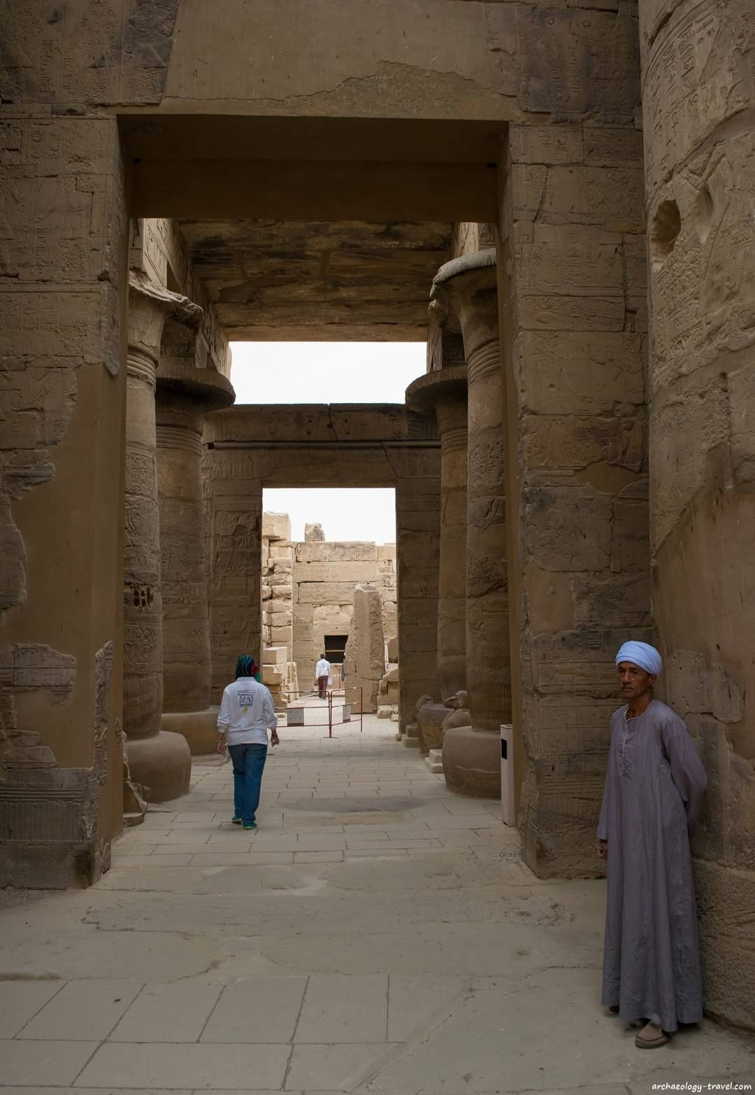 Looking through the Hypostyle Hall into the Sanctuary of the Temple of Khonsu.