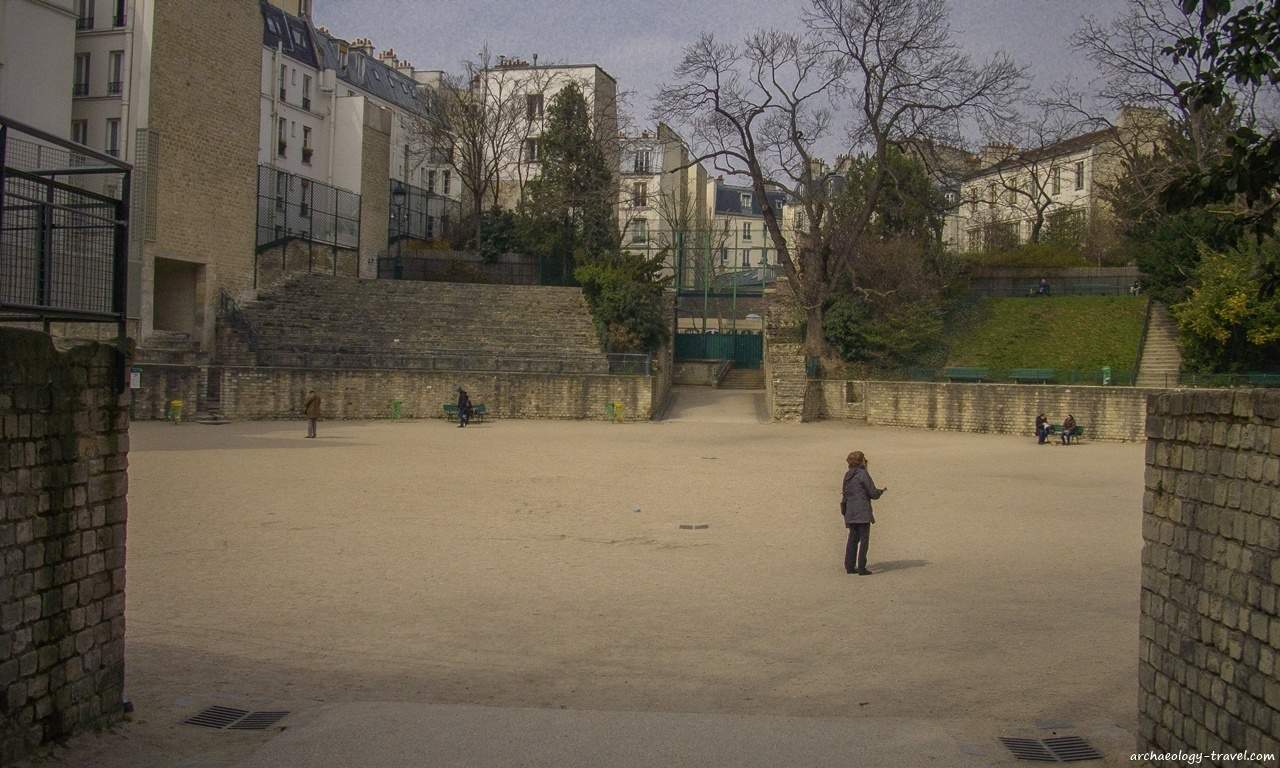 Looking into the arena of the Roman amphitheatre in Paris, known locally as Les  Arènes de Lutèce.
