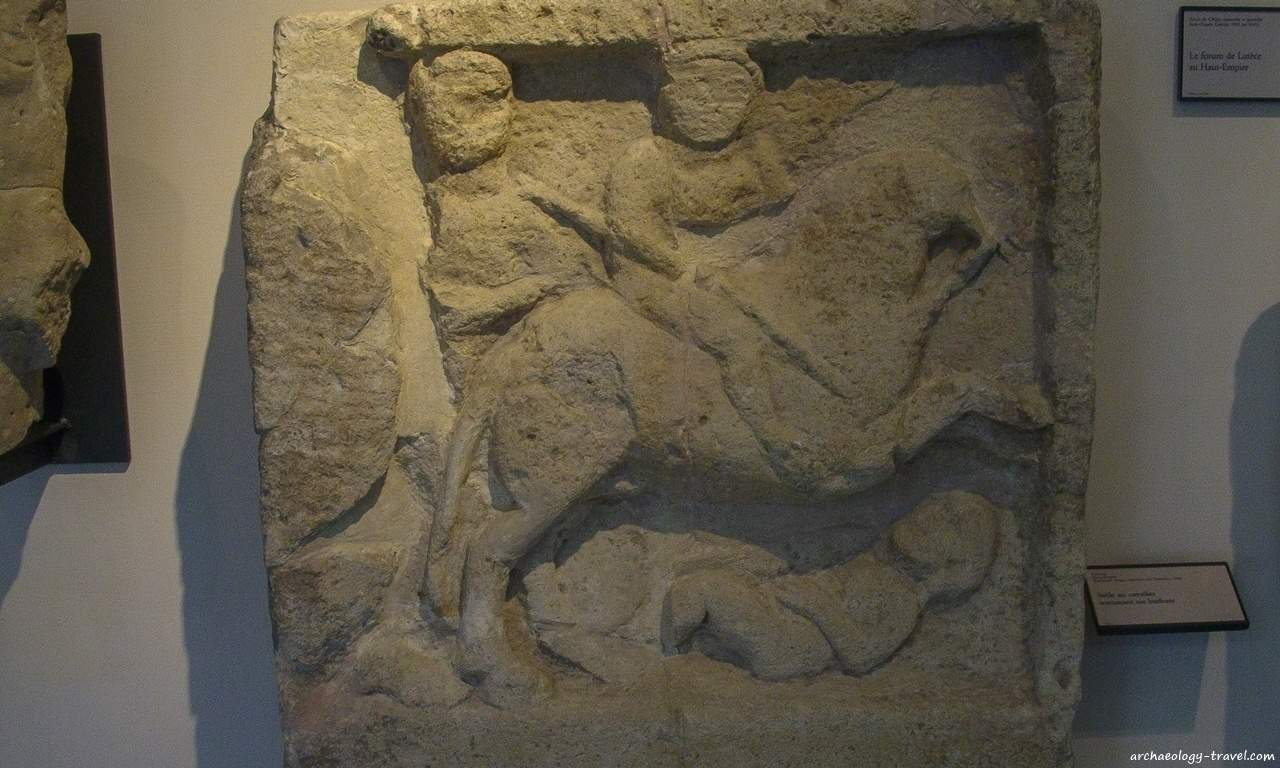 A sculptured stela in the Carnavalet Museum depicting a horseman slaying a Barbarian.