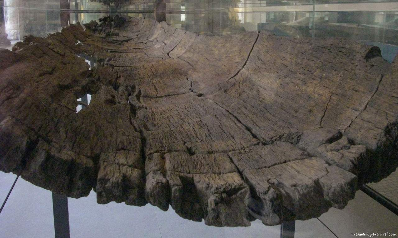 One of the wooden canoes excavated from a Neolithic settlement in the Bercy area of Paris, now in the Carnavalet Museum.