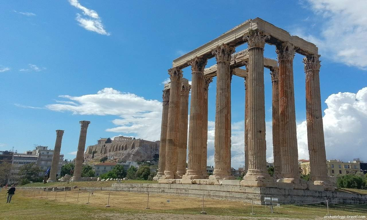 The imposing, remaining columns of the Temple of Zeus in Athens, Greece.