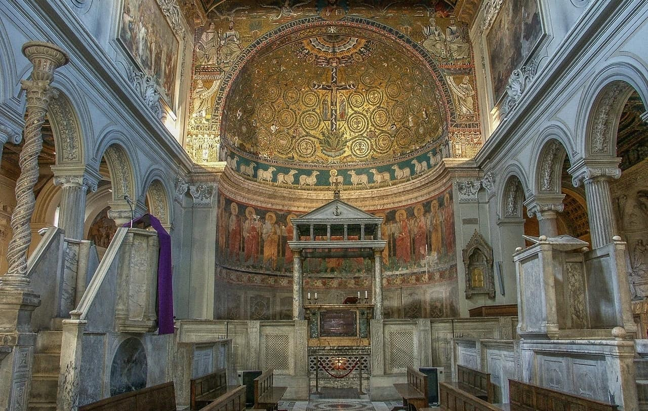 The Basilica of Saint Clement has the second largest collection of early Medieval wall paintings in Rome.