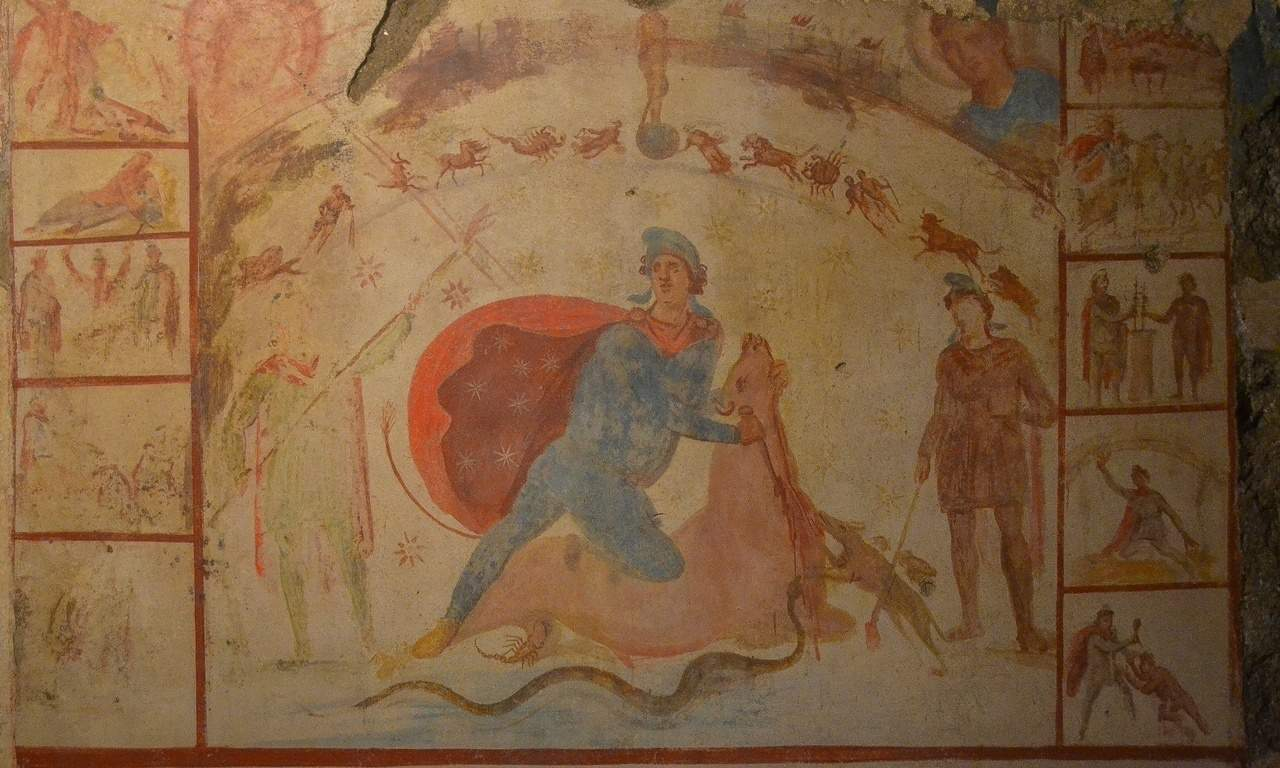 The well preserved fresco from the mithraeum under the Barberini Palace. © Costantinus - Wikipedia
