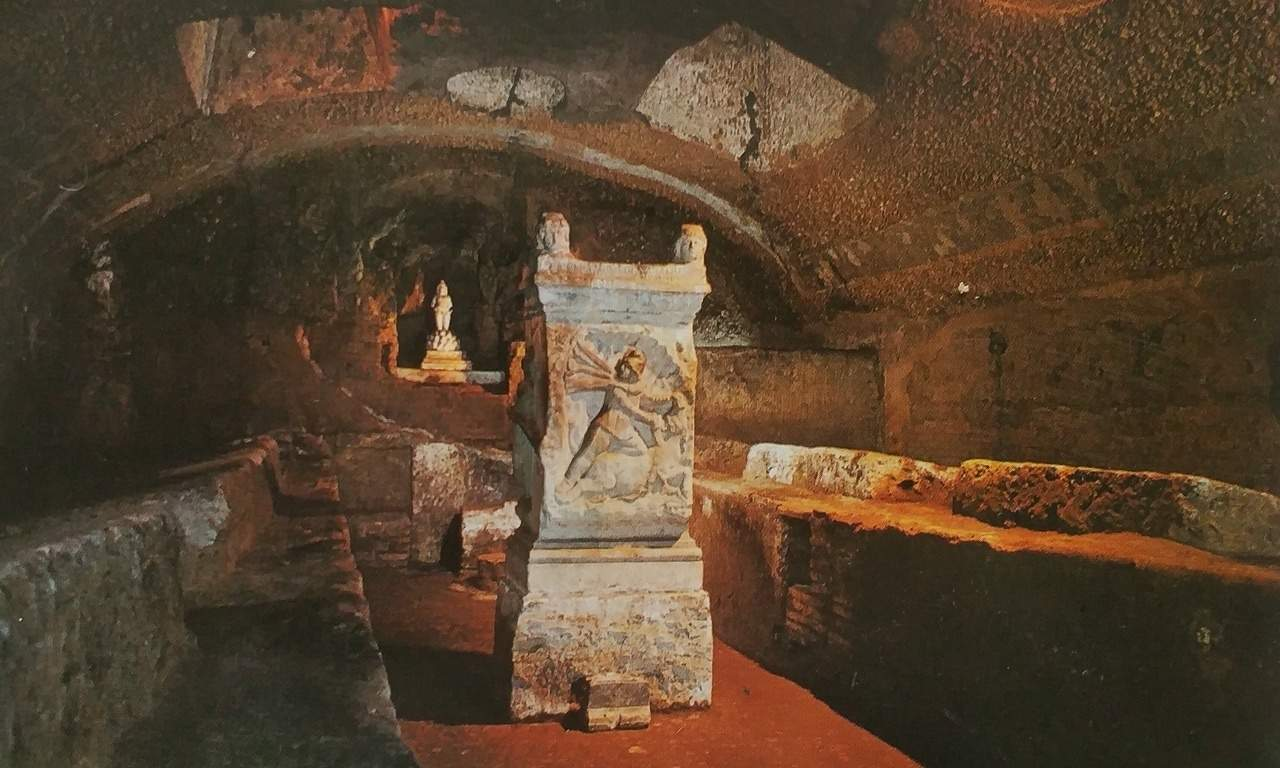 Inside the mithraeum under the Basilica di San Clemente, Rome.