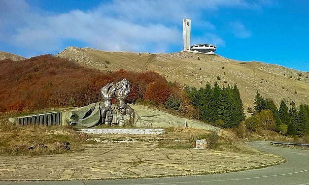 The Buzludzha Monument built by the communists for their headquarters.