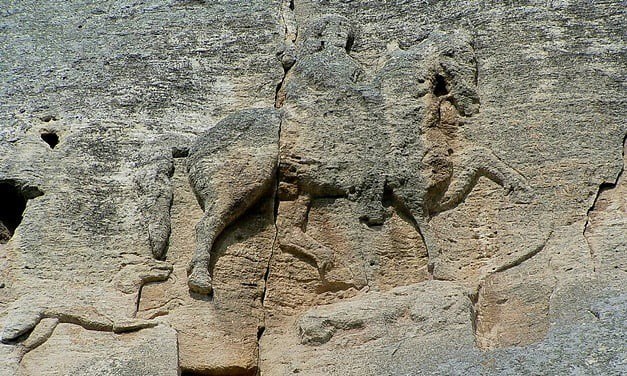 The rock carved horseman near the village of Madara, a UNESCO World Heritage Site.