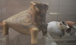 Figurines on display in the Neolithic Dwellings Museum in Stara Zagora, in Bulgaria.