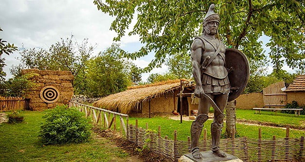 A reconstructed Neolithic house at the Antique Village near Varna.