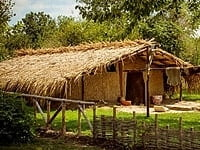 A reconstructed Neolithic dwelling in the Ancient Neolithic Village, Neofit Rilski, in north east Bulgaria