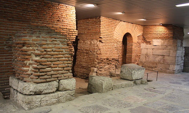 Fortifications from the Roman occupation of Serdica beneath modern-day buildings in Sofia, Bulgaria.