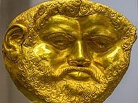 Thracian gold death mask in the National Archaeological Museum, Sofia - Bulgaria.