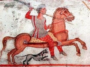 Fresco from the thracian tomb near Aleksandrovo.