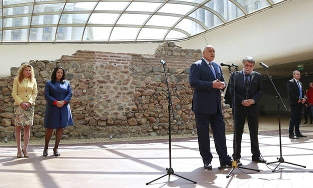 The Bulgarian prime minister speaks at the opening of the archaeological remains at Serdika II Metro Station.