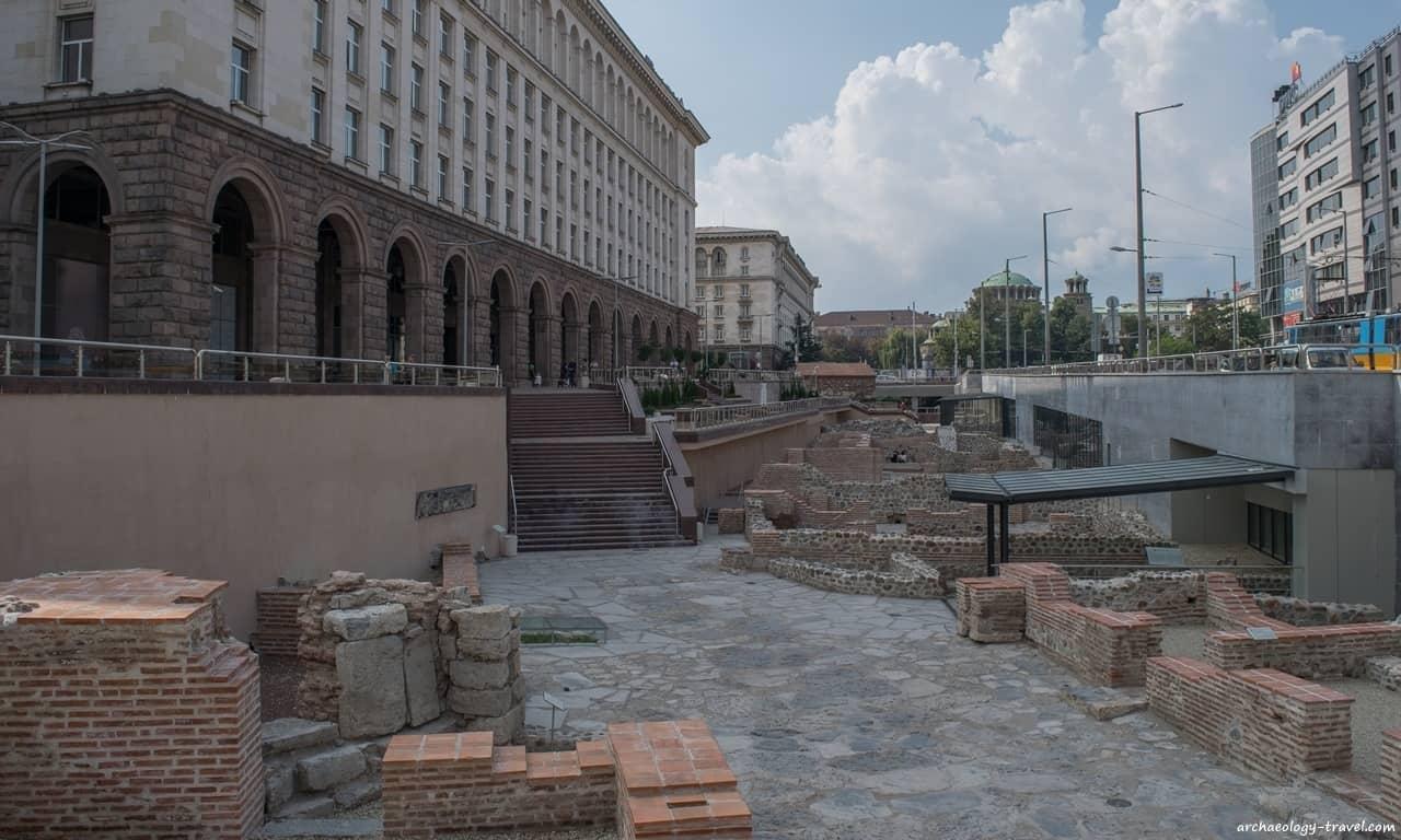 Serdica's Cardo Maximus, as seen from the north terminal of the Serdika II Metro station, Sofia.