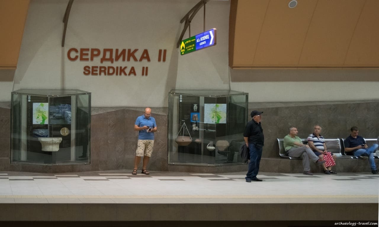 Archaeological displays on the platform at Serdika II Metro station in Sofia, Bulgaria.