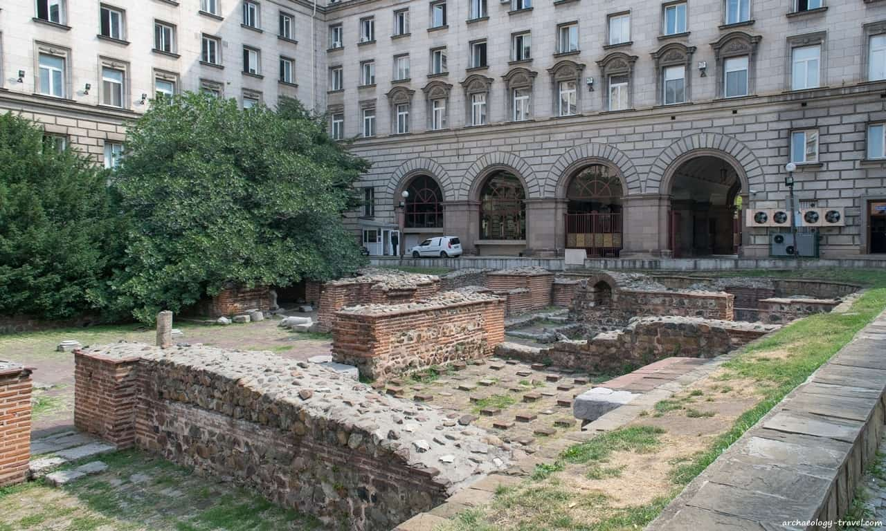 Roman ruins of public buildings with hypocaust floors next to the Church of St George, Sofia.