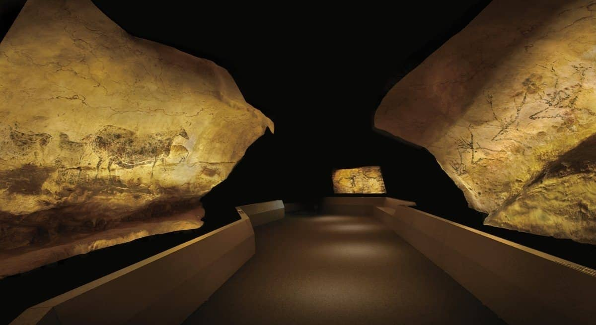 Reproductions of cave art in Lascaux on display in Japan.
