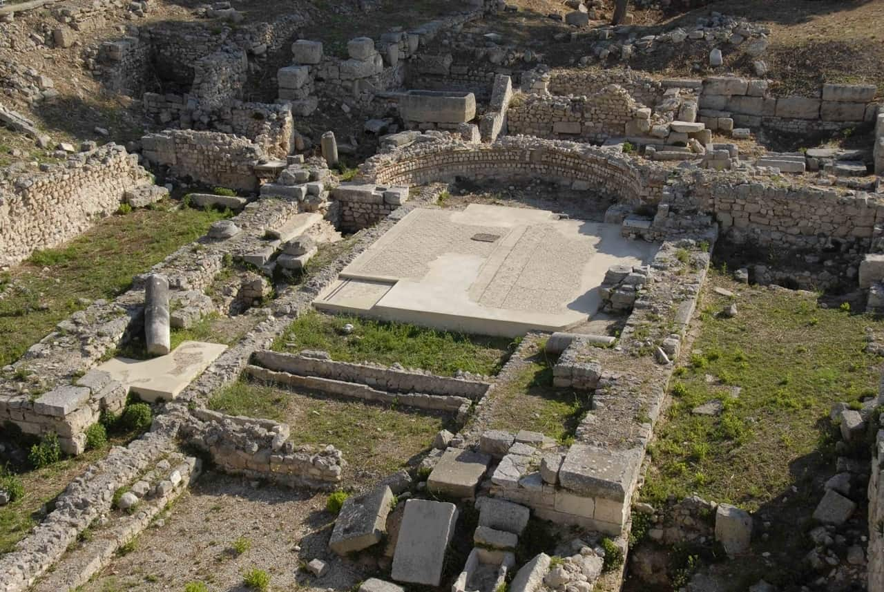 Uncovered remains of the early Christian Basilica of Siponto, Italy.